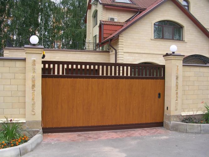 Стальные откатные ворота